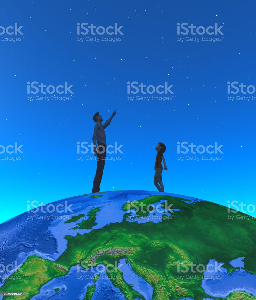 A man showed him a child moonlight on the globe stock photo