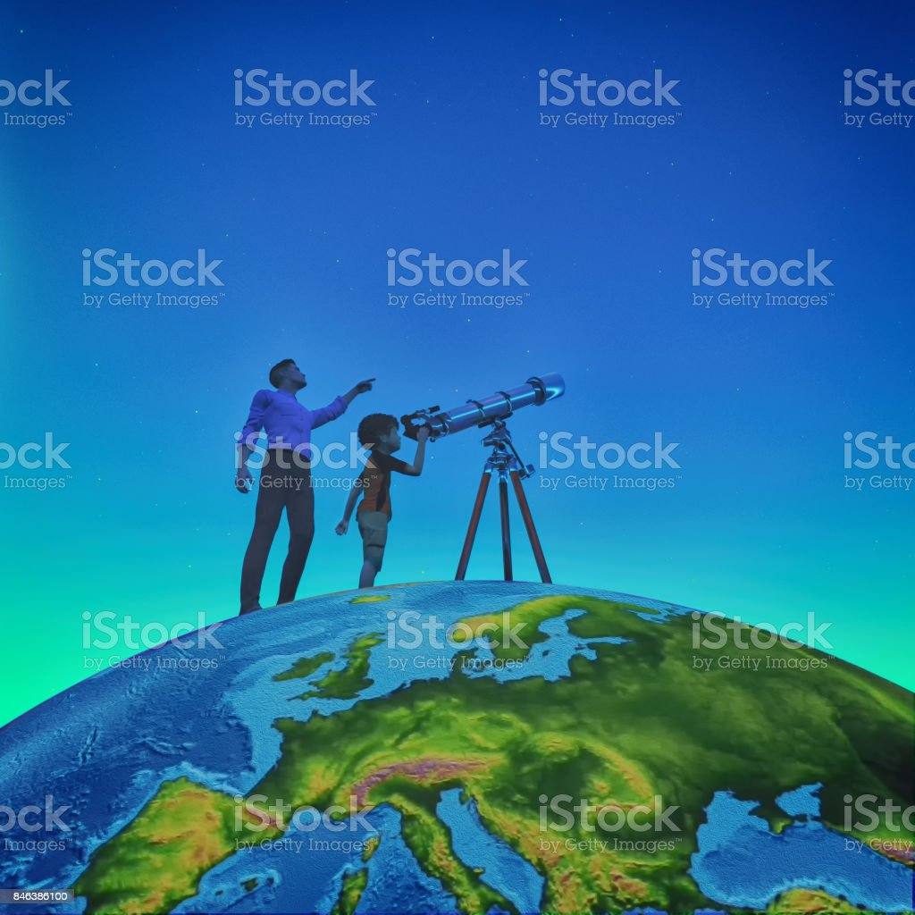 A man showed him a child telescope starry sky stock photo