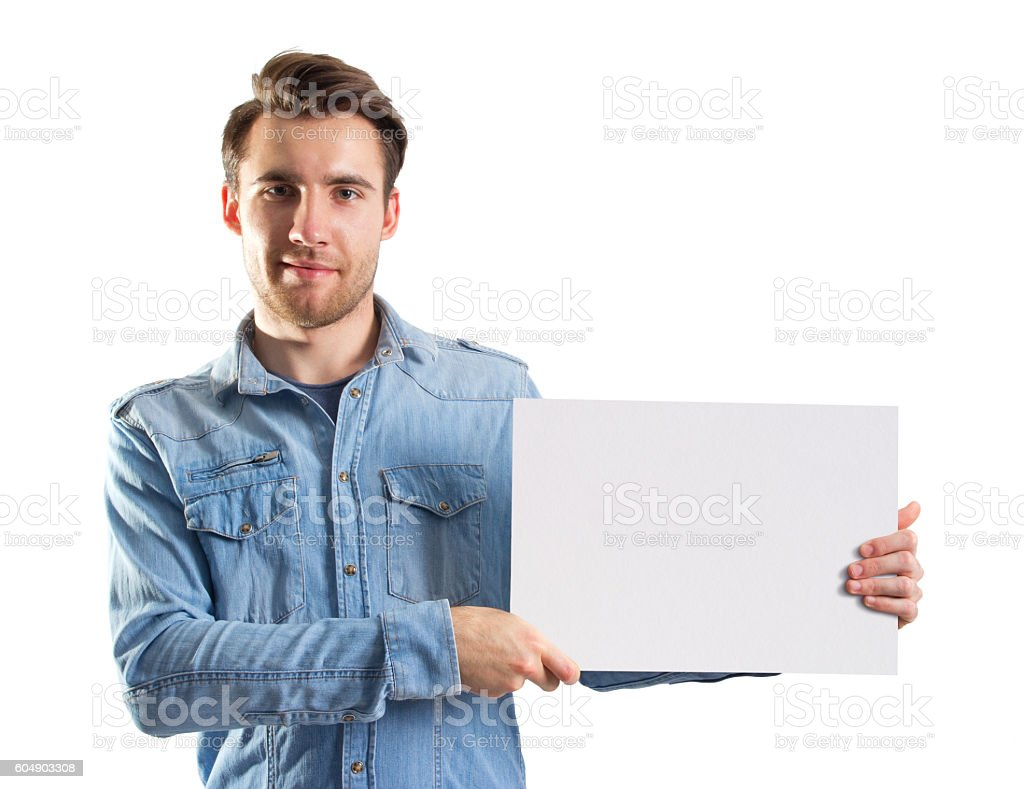 man showing a blank paper page, two cliping paths included stock photo