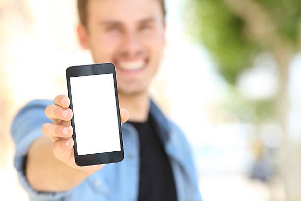 男性の電話番号を空白の画面 street ストックフォト