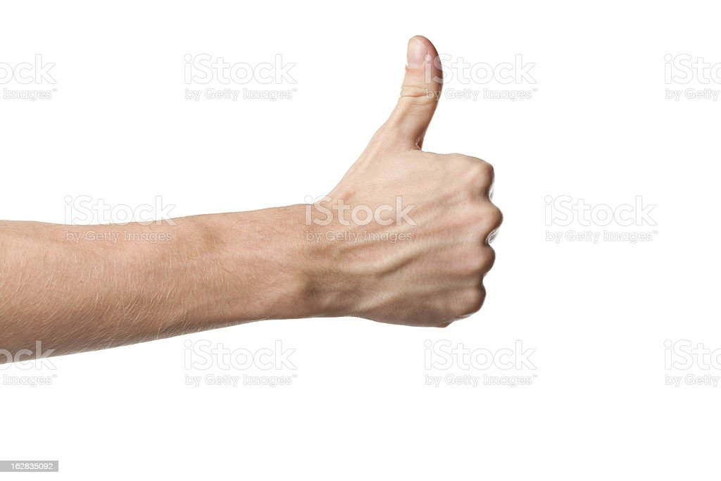 A man showing a thumbs up sign stock photo
