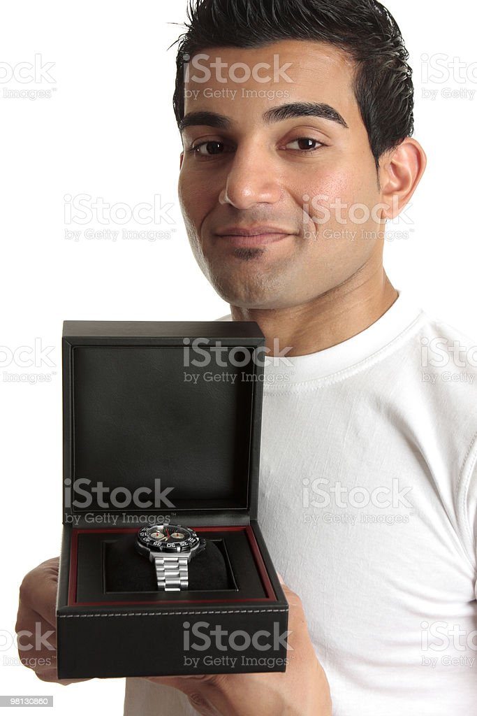 Man showing a wristwatch royalty-free stock photo