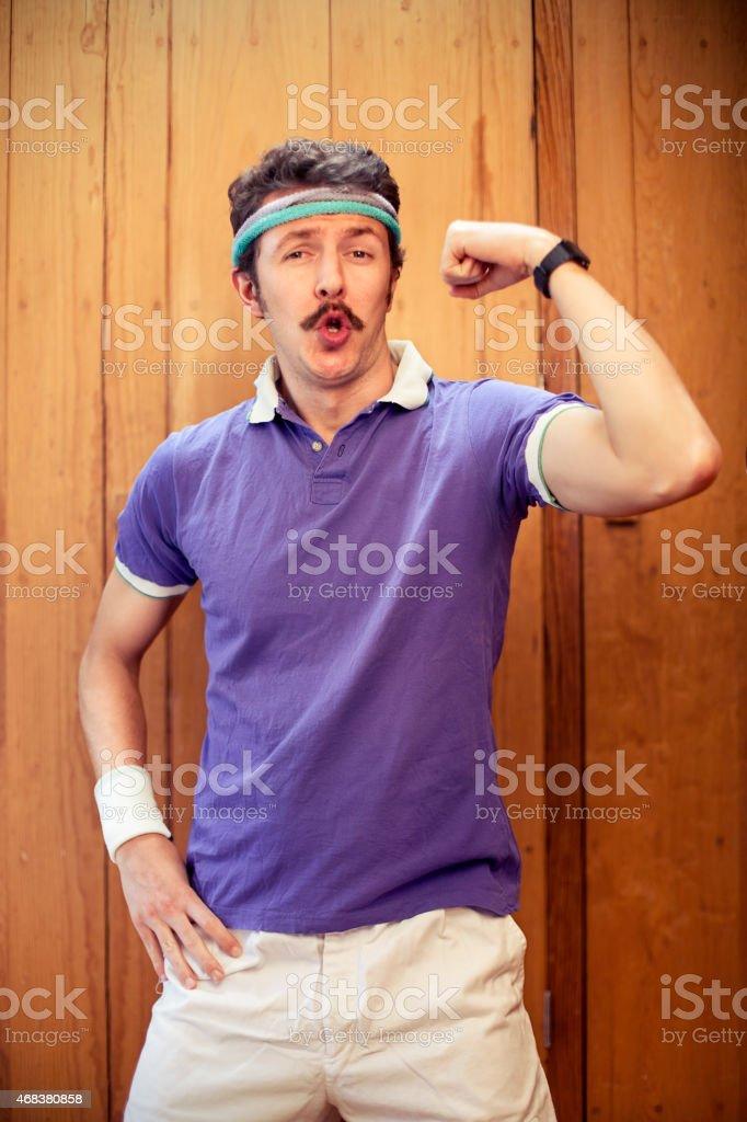 Man showing bicep stock photo