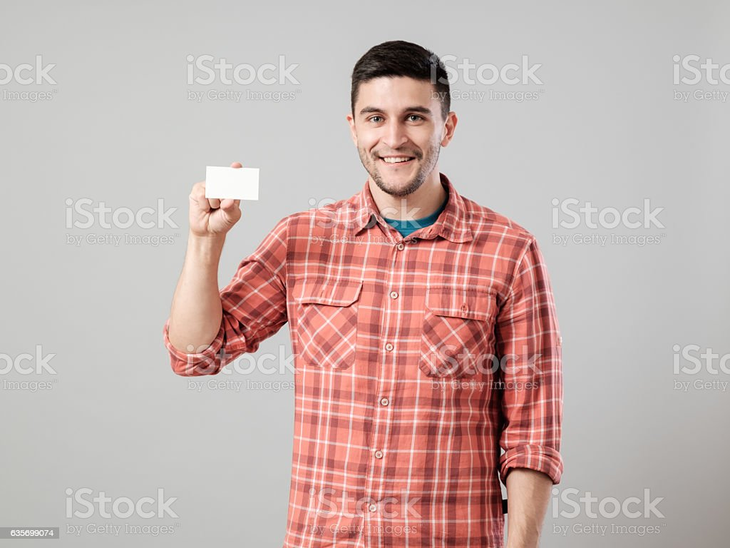 Man showing blank business card royalty-free stock photo