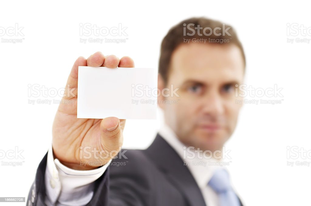 Man showing blank card stock photo