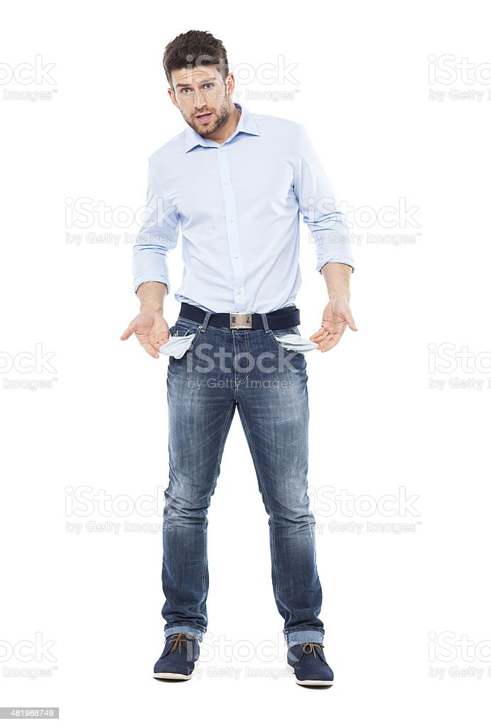 Man showing empty pockets stock photo
