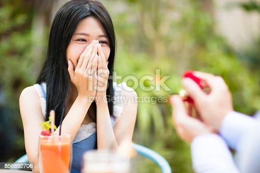 1129577106 istock photo Man showing engagement ring diamond to girlfriend in restaurant 856892706