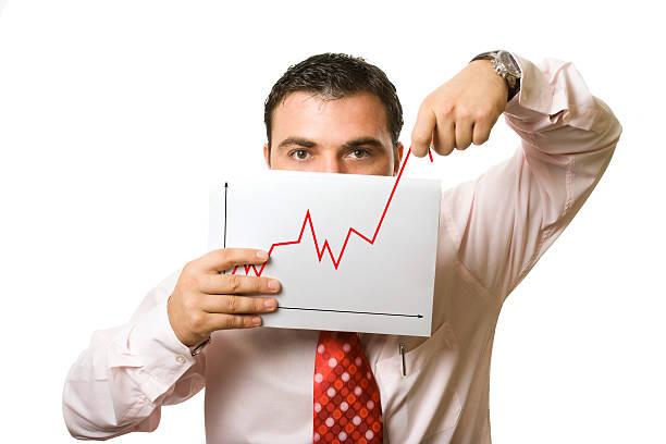 man showing false progress stock photo