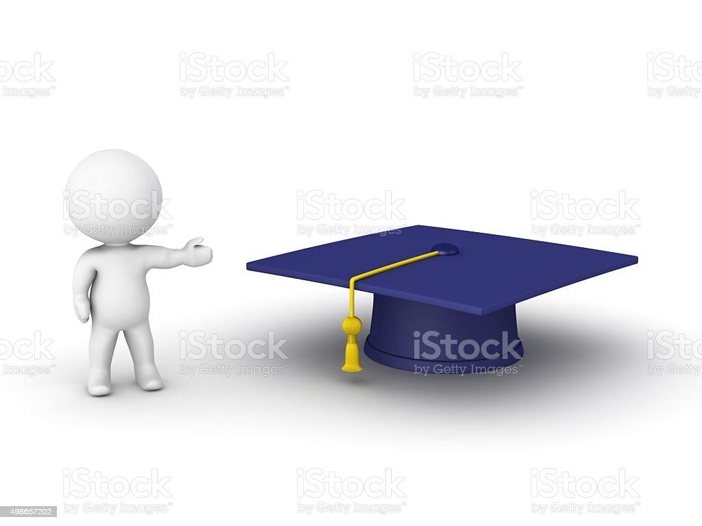 3D man showing graduation hat stock photo