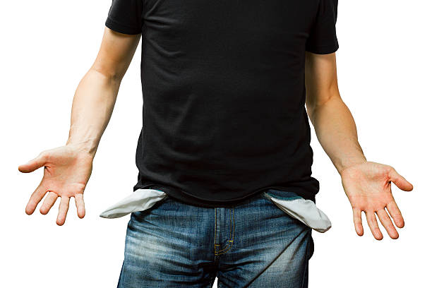 man showing his empty pocket, no money - pocket stock photos and pictures