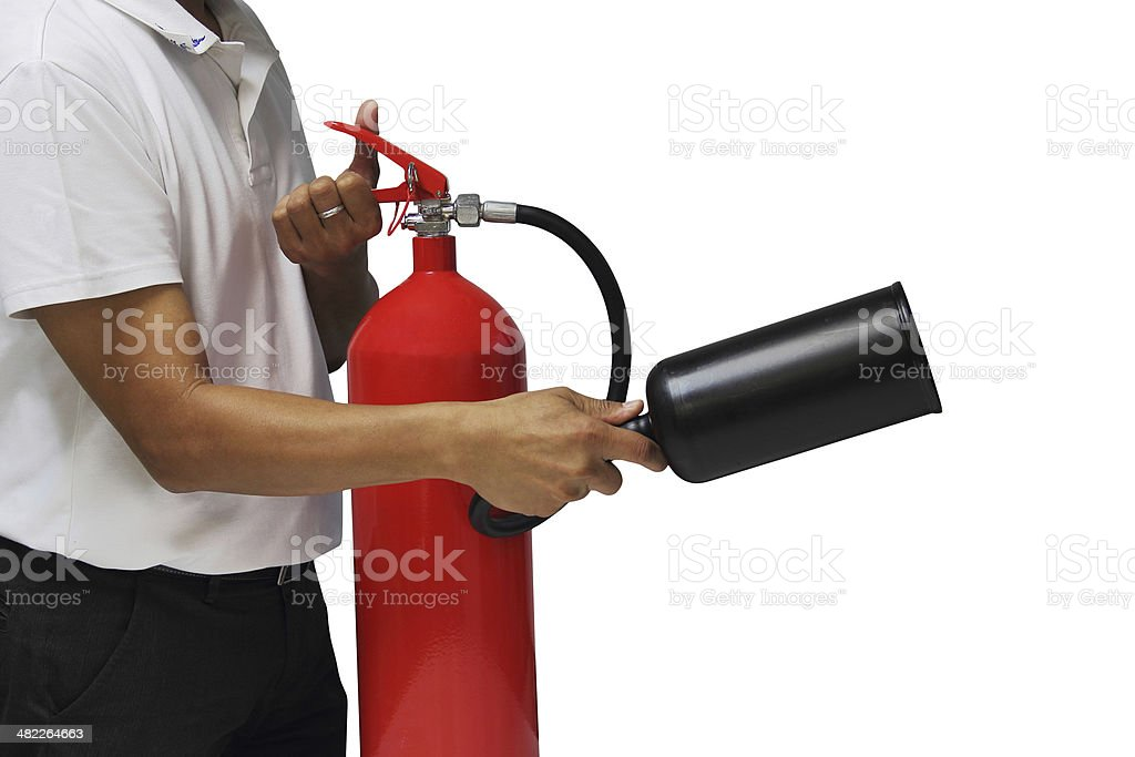 Man showing how to use fire extinguisher isolated over white stock photo
