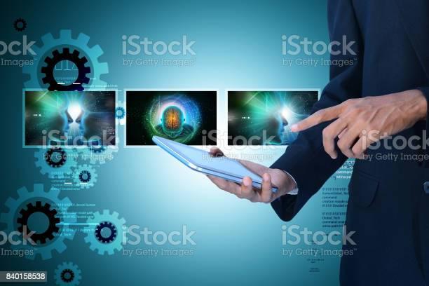 Man showing medicine technology concept on digital tablet