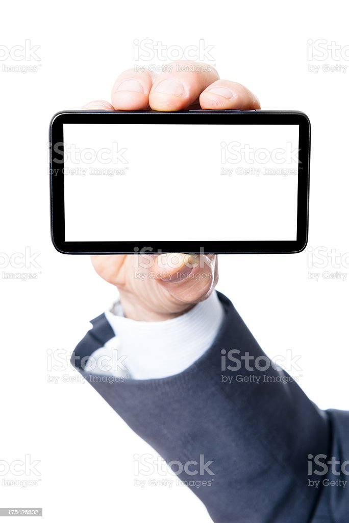 Man Showing new smartphone with blank screen royalty-free stock photo