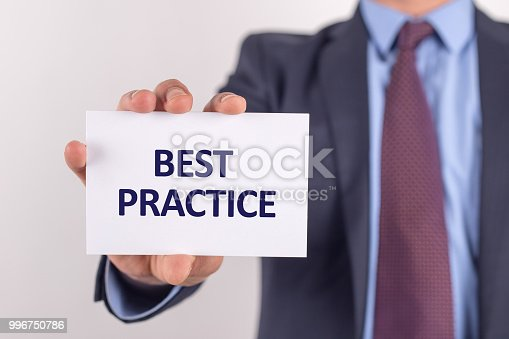istock Man showing paper with BEST PRACTICE text 996750786
