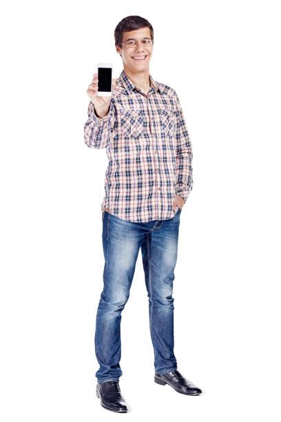 Mann mit Telefon Ganzkörper – Foto