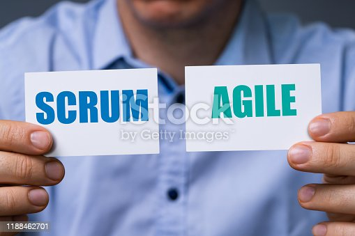 istock Man Showing Scrum And Agile Cards 1188462701
