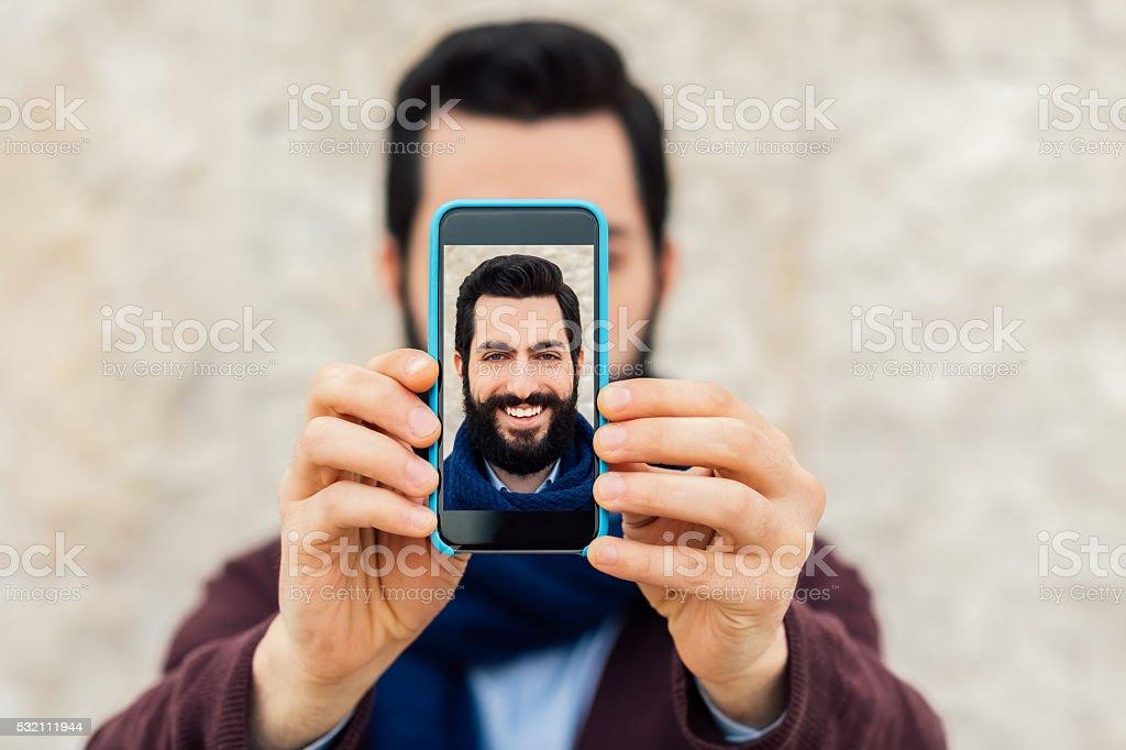Man showing selfie stock photo