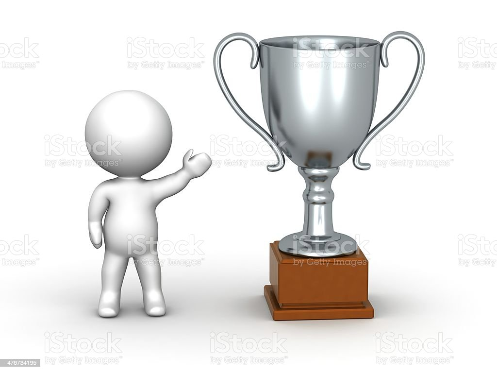 3D Man Showing Silver Trophy royalty-free stock photo