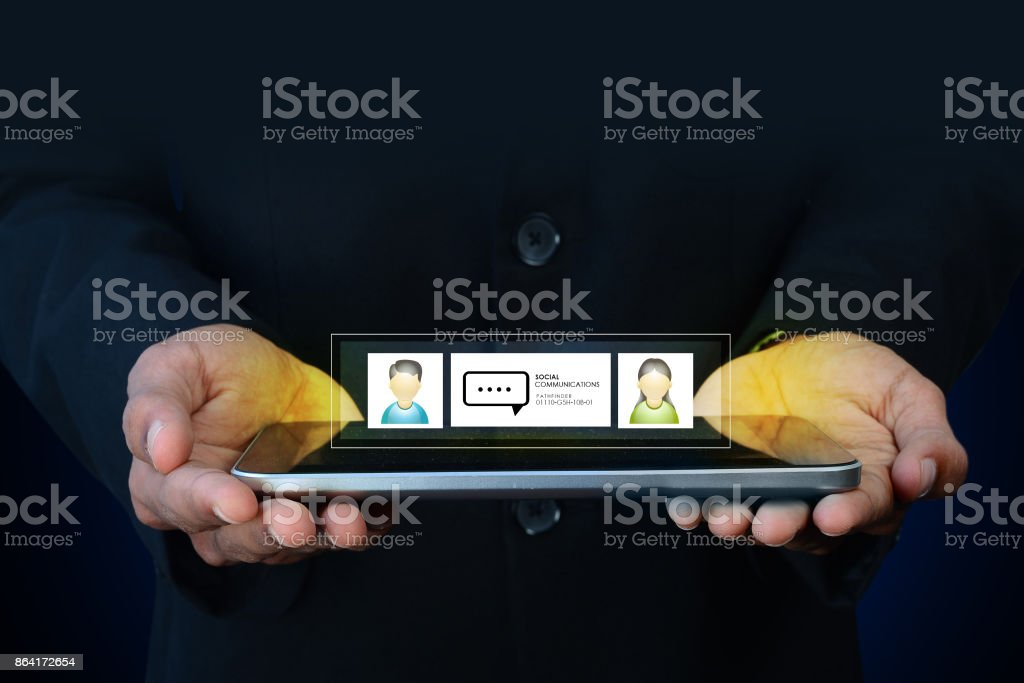 Man showing social network concept royalty-free stock photo