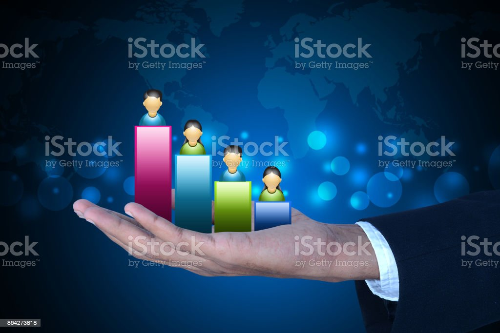 Man showing social network graph royalty-free stock photo