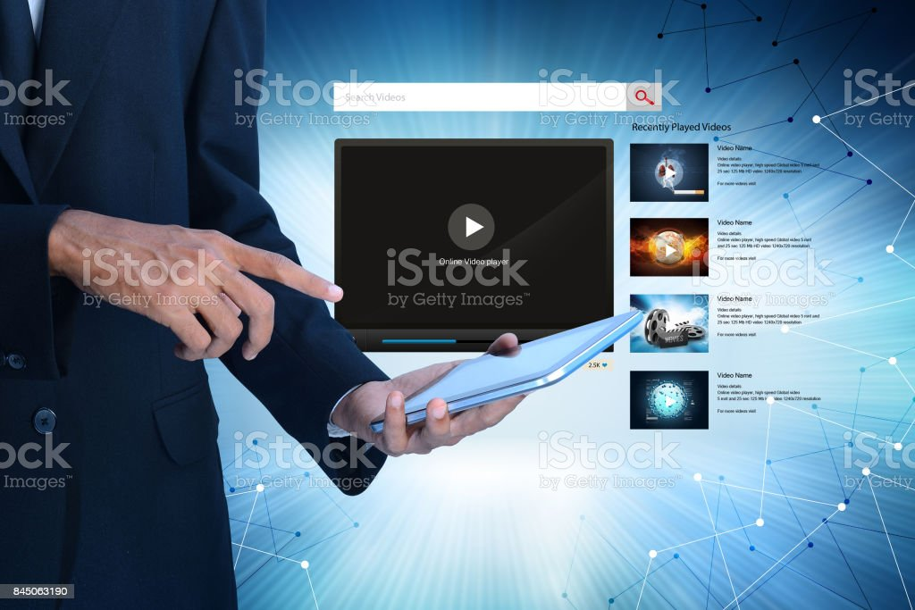 Man showing the play button stock photo