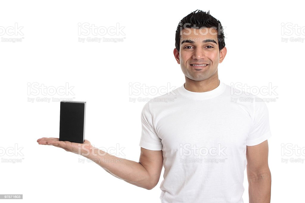 Man showing your product royalty-free stock photo