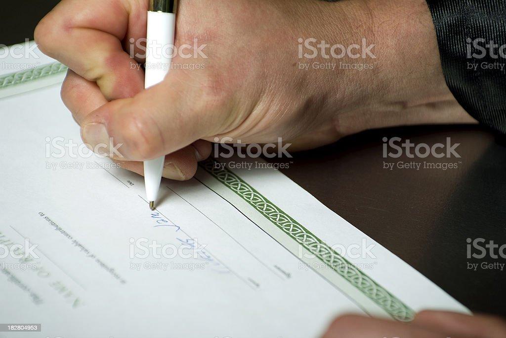 Man siging document royalty-free stock photo