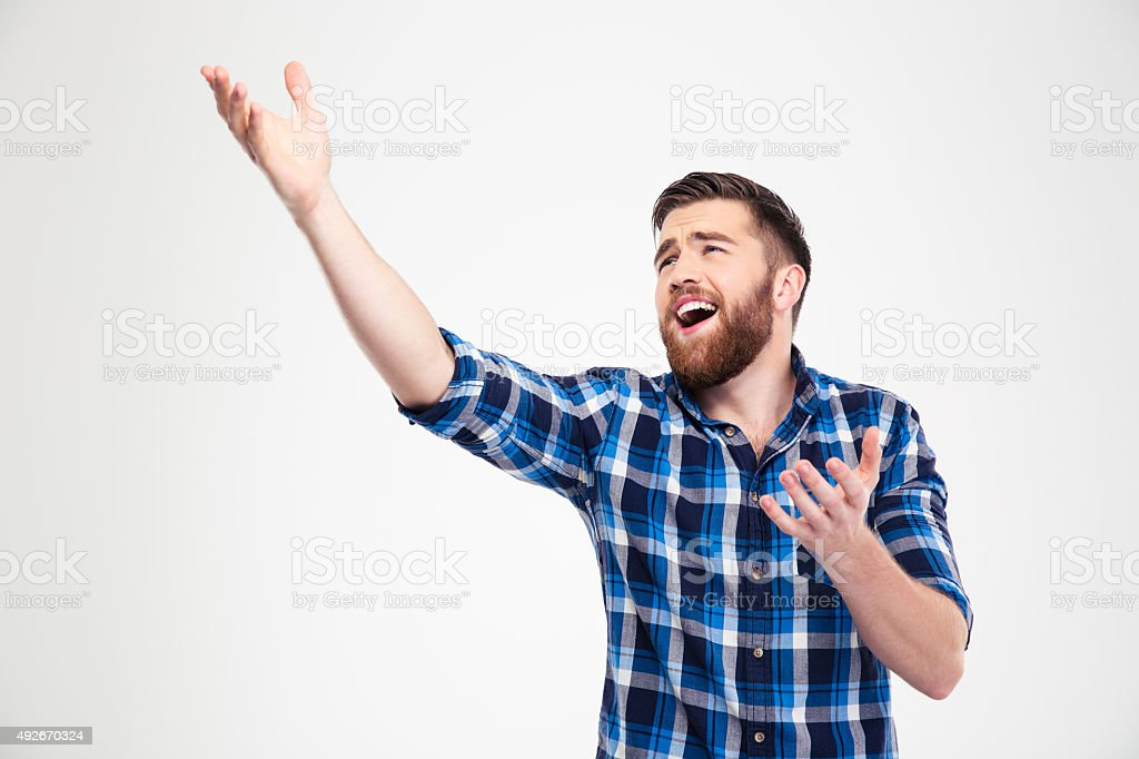 Man singing and gesturing with hands stock photo