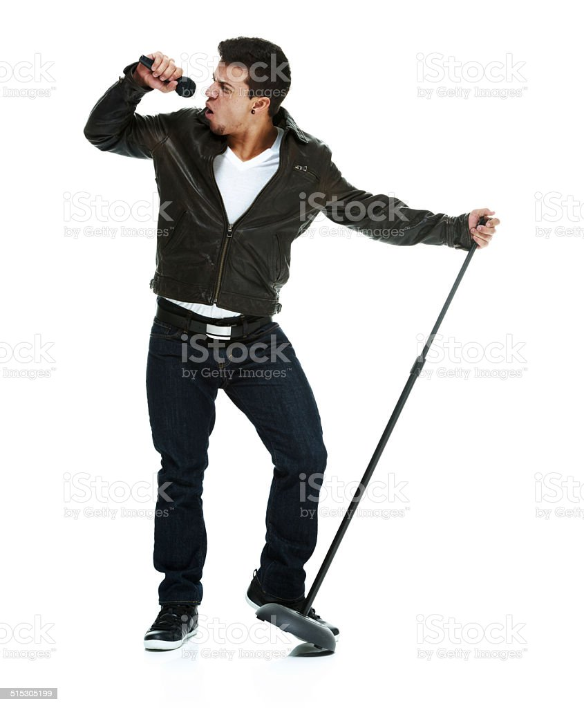 Man singing song with microphone stock photo