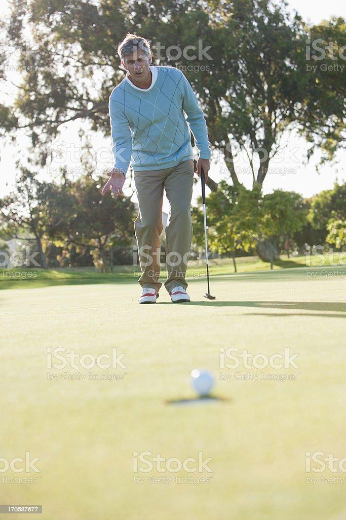 Man sinking golf ball into hole royalty-free stock photo