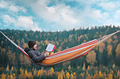 istock A man sits in a hammock and reads a book in a picturesque place. Mug in his right hand. 1065016430