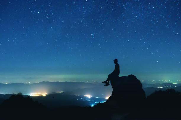 Man sits on big rock on night sky background picture id897386294?b=1&k=6&m=897386294&s=612x612&w=0&h=cmpwjdlj q5q0u9szgylzm60ubum5fj1mitjiuaj qi=