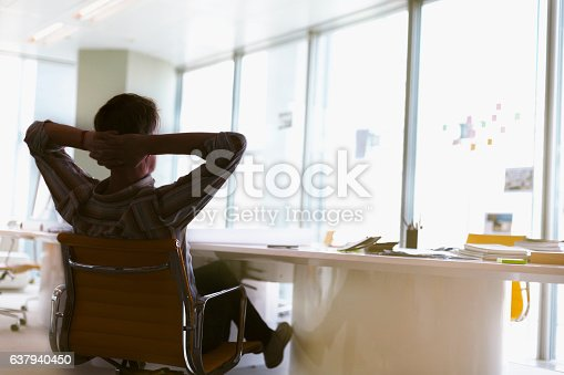 istock Man sitting arms behind head relaxed in office meeting room 637940450