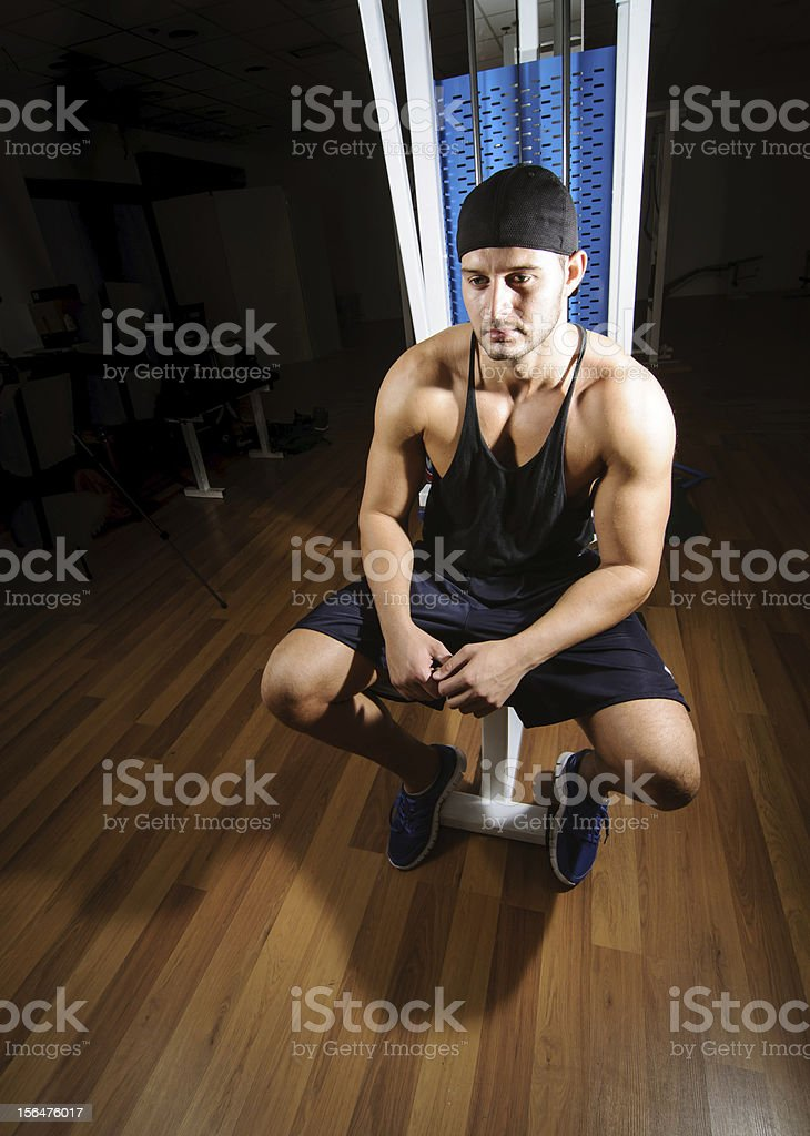 Man sitting in gym royalty-free stock photo