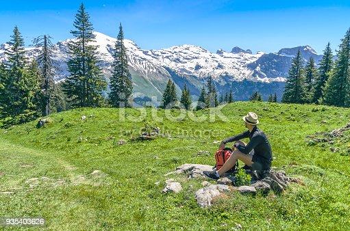 istock man sitting on a green meadow, admiring the mountain scenery. 935403626