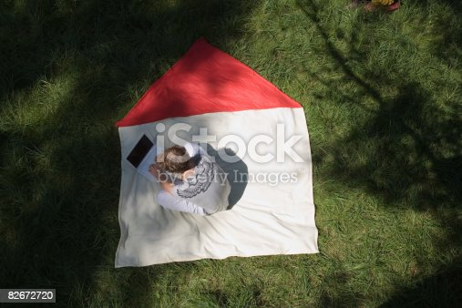 Man sitting cross-legged on two Blankets at a green park with his Laptop infront. You only see his Back. The Grass is covered  with Daylight and Shadows of Trees.
