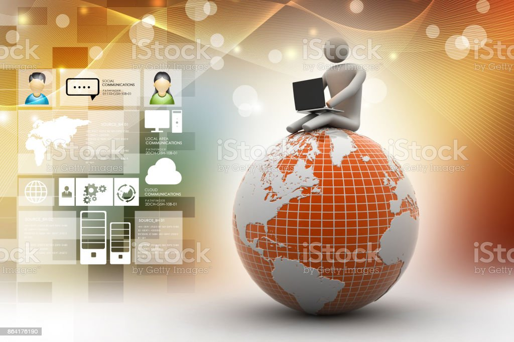 man sitting on globe with the Laptop. On Top of the World. royalty-free stock photo