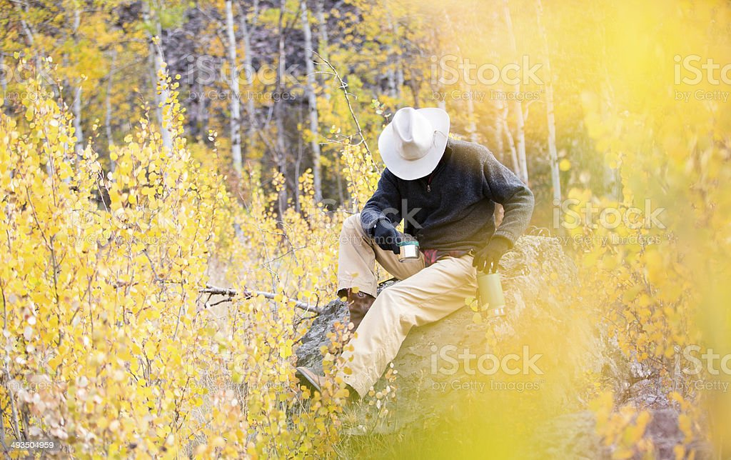 Man sitting on rock in wooded area surrounded by foliage stock photo