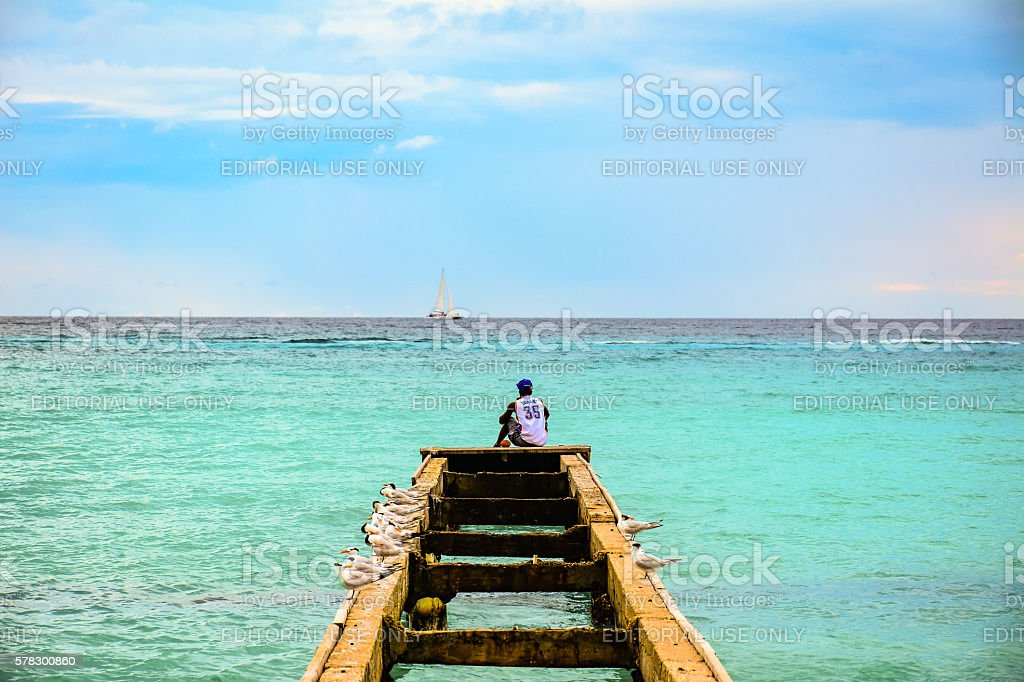 Man sitting on top of a pier surrounded by seagulls stock photo