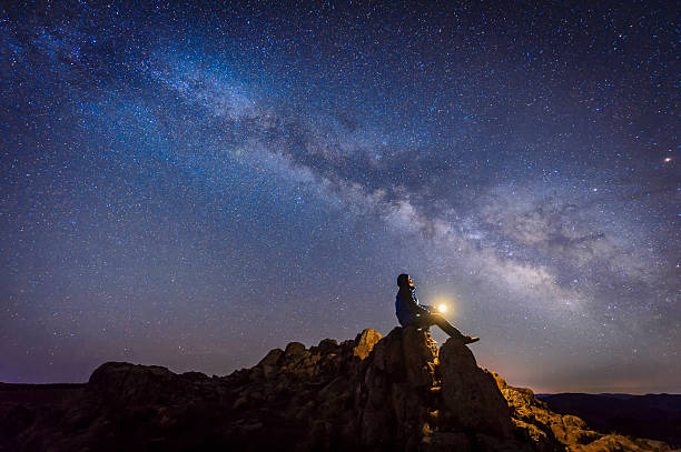 man sitting under the milky way galaxy - shooting stars stock photos and pictures