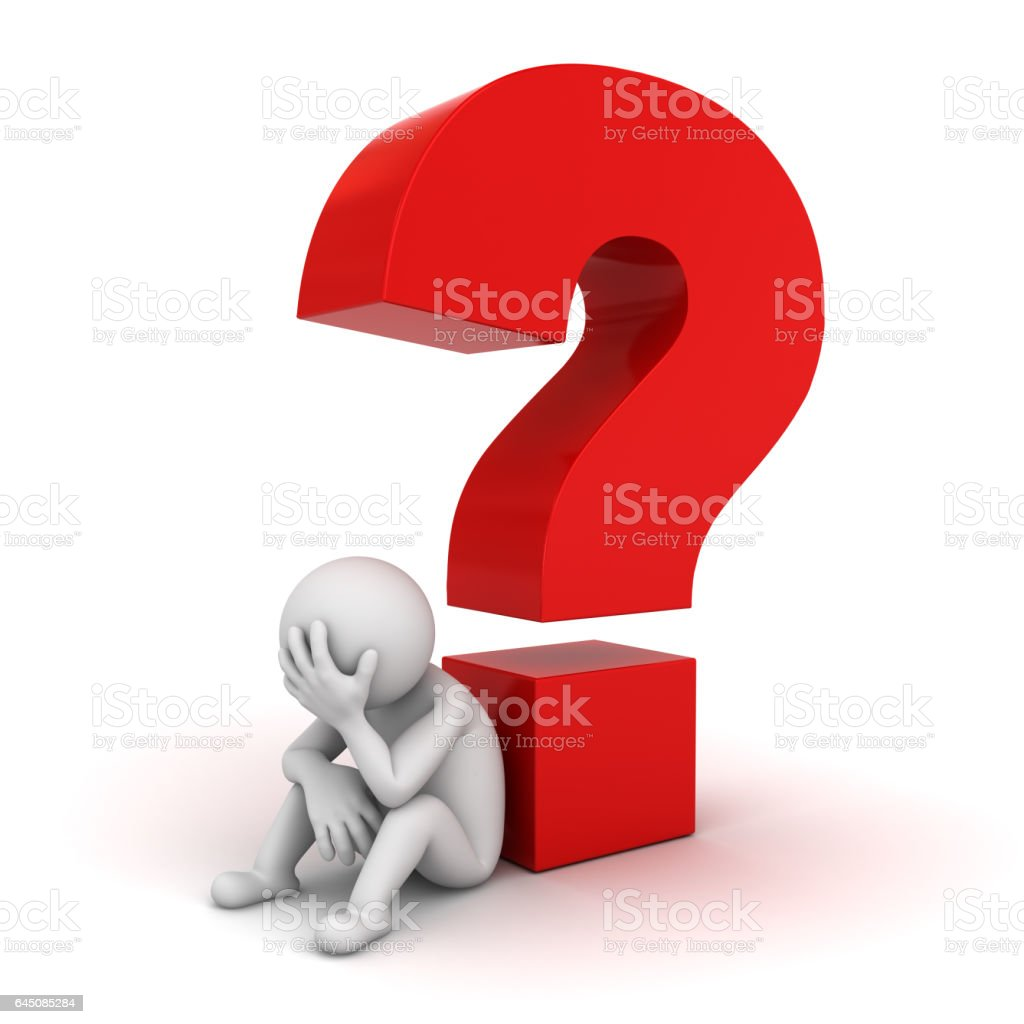 3D Man sitting with red question mark stock photo