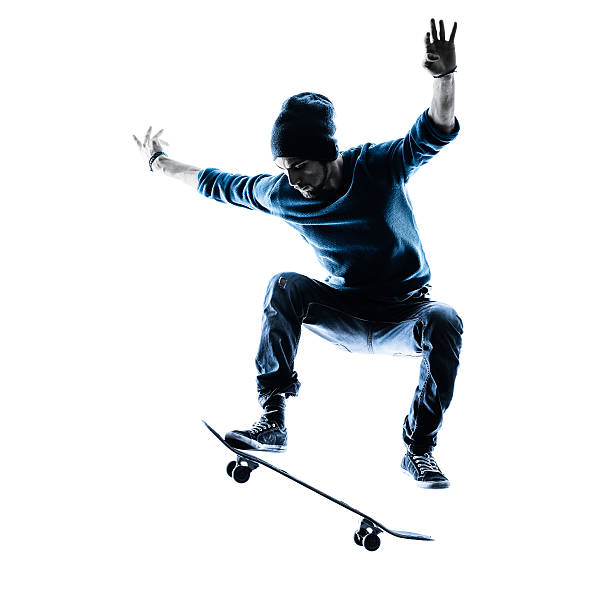 man skateboarder skateboarding silhouette - skateboarding stock pictures, royalty-free photos & images