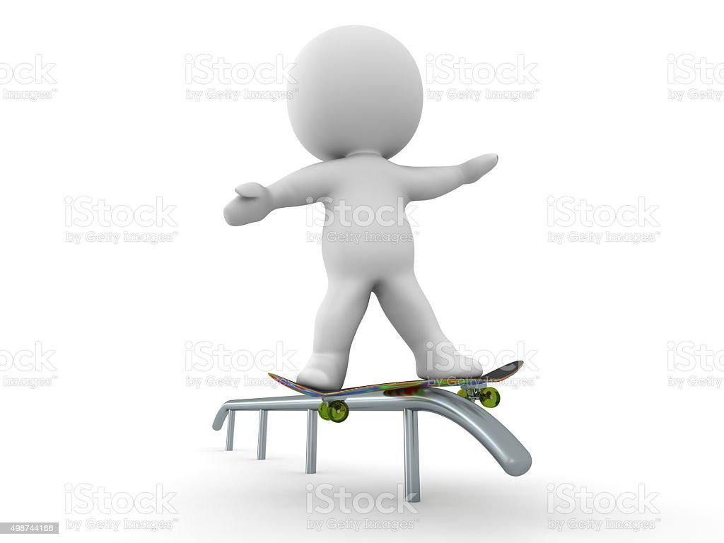 3D Man Skateboarding Rail Grind Trick stock photo