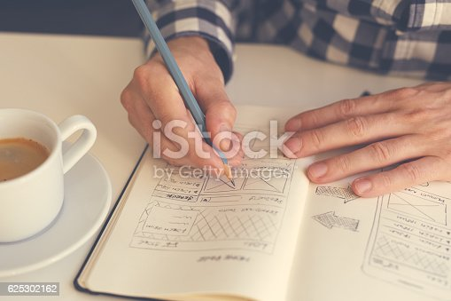 istock Man sketching graphic sketch in office 625302162