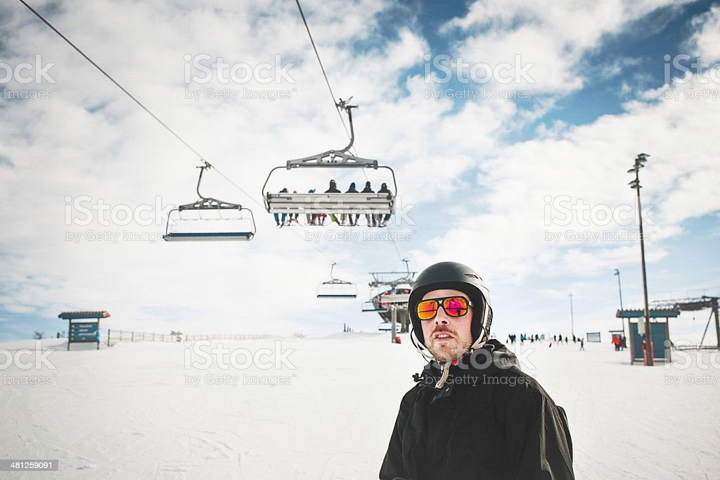Man skiing in the ski slope royalty-free stock photo