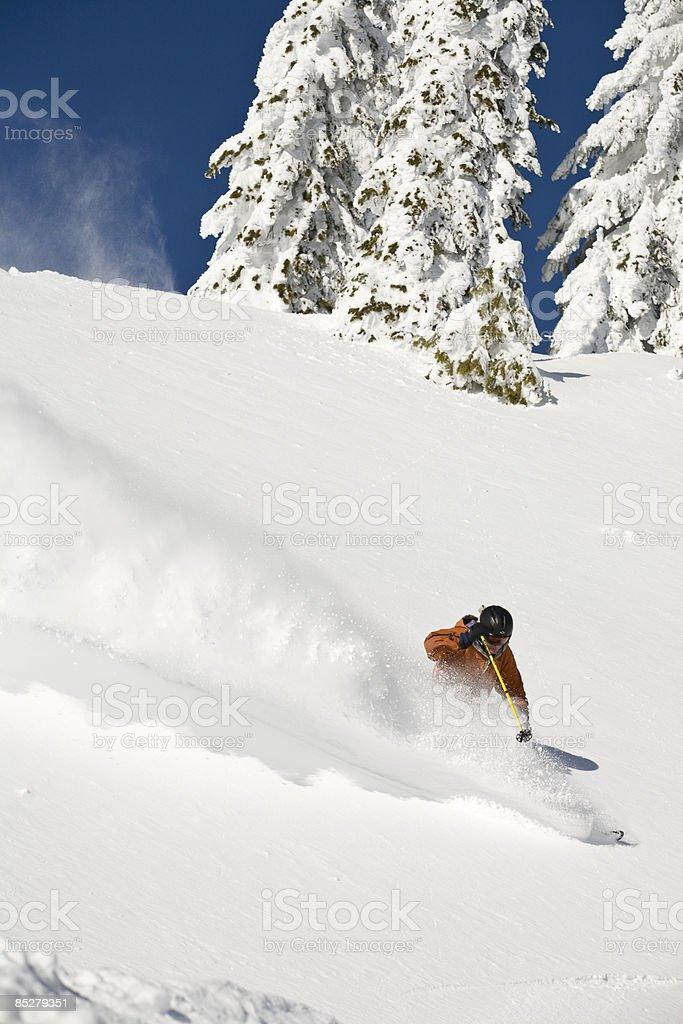 A man skis some deep powder. royalty-free stock photo