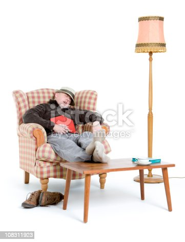 Man Sleeping In Armchair While Reading Stock Photo & More ...