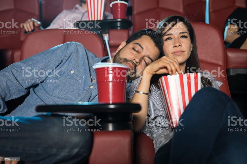 Man sleeping on a date stock photo