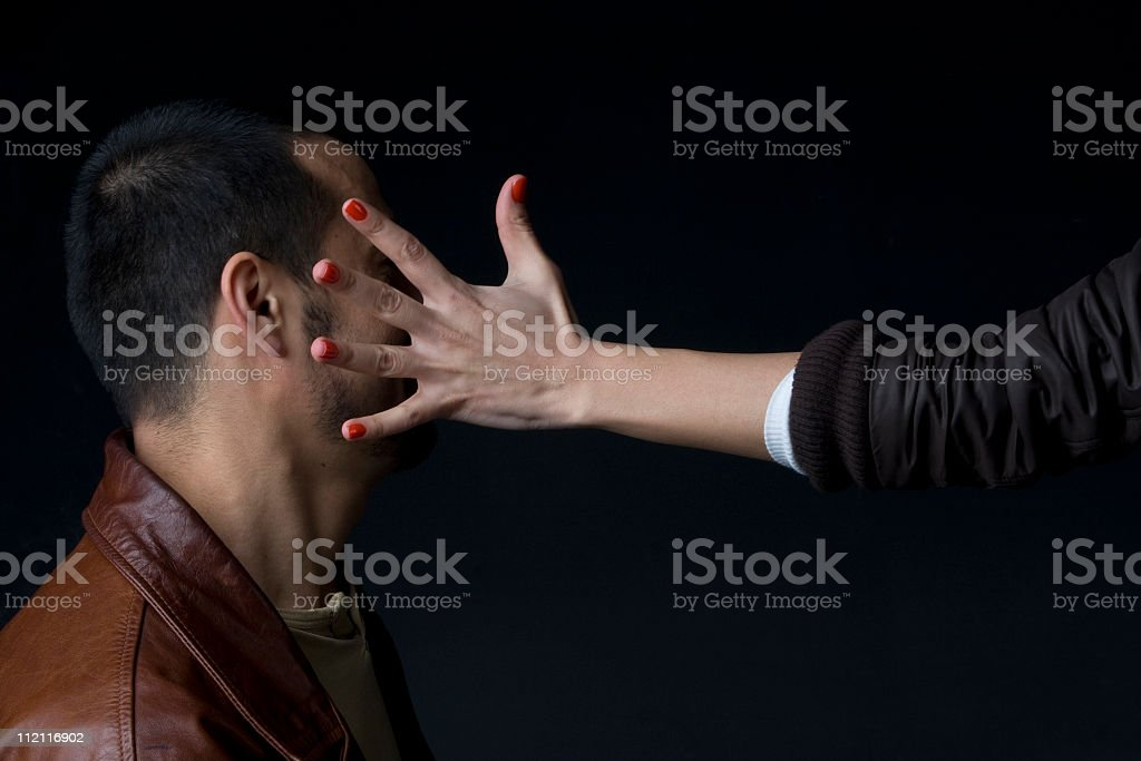man smacked by a woman stock photo
