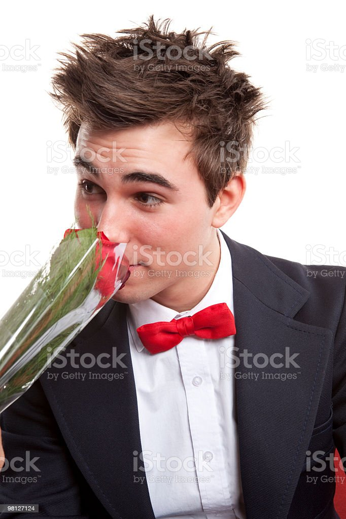Man smell rose royalty-free stock photo
